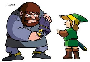 Link et un marchand The Legend of Zelda nes